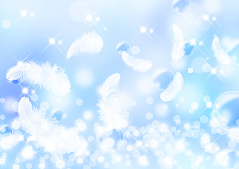 Feather _ sparkling blue background