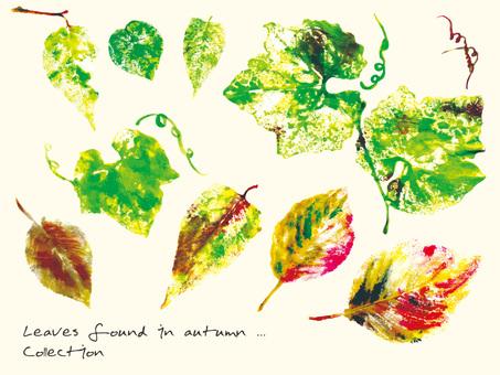 수채화 가을 산책 중에 발견 한 나뭇잎들