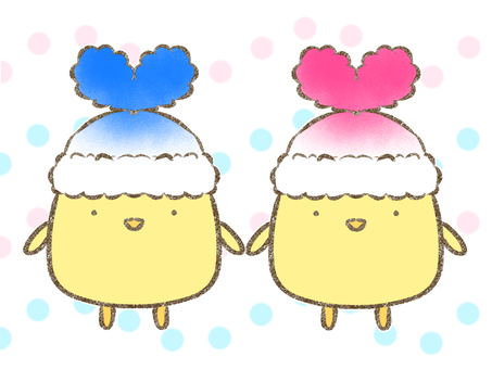 Chick Blue & Pink in Heart Hat
