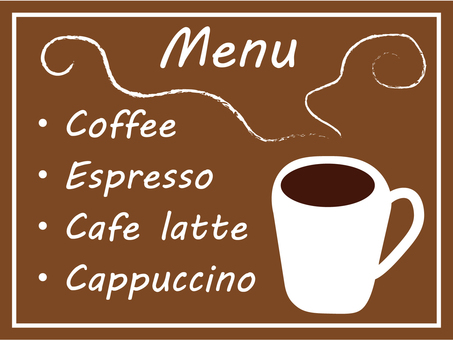 Cafe menu signboard