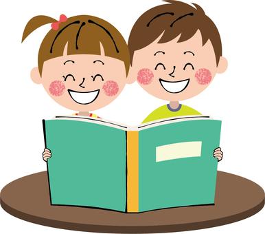 Smile picture book green male and female child desk dumplings