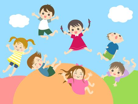Children jumping on a trampoline_Background