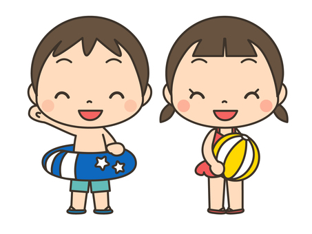 Kids playing in swimwear