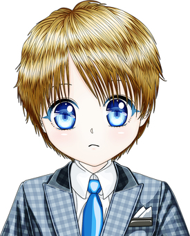 Moe male elementary school student wearing check suit