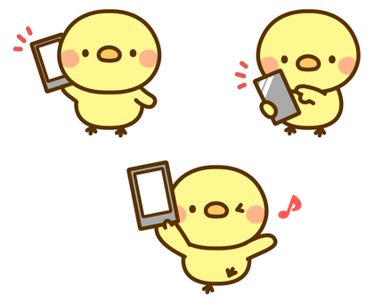 Chick and smartphone