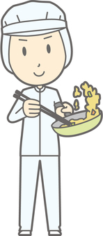 Sanitary clothes man - stir fry - whole body