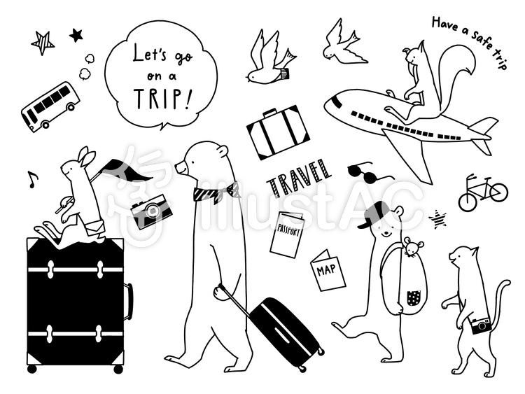動物たちの旅行 モノトーンのイラスト