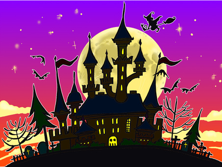 Halloween castle and moon