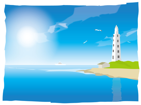 Summer seas and lighthouse