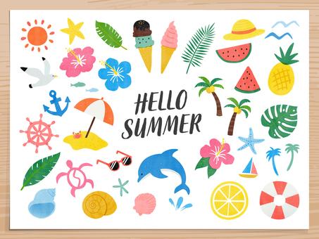 Summer hand drawn wind cartoon set