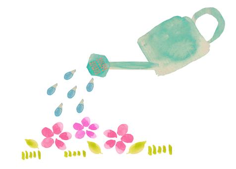 Watering ④ (watering 1) Watercolor icon processing