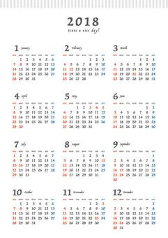 2018 calendar _ A 4 tate