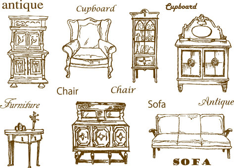 Antique furniture hand-painted