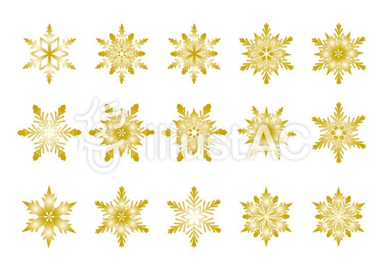雪の結晶ゴールドイラスト No 305286無料イラストならイラストac