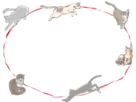 Cat frame red ribbon