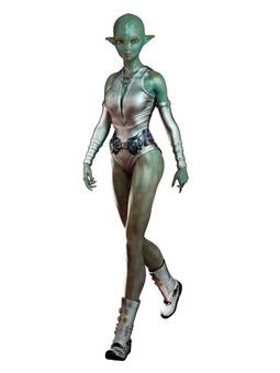 歩くティーン宇宙人女子