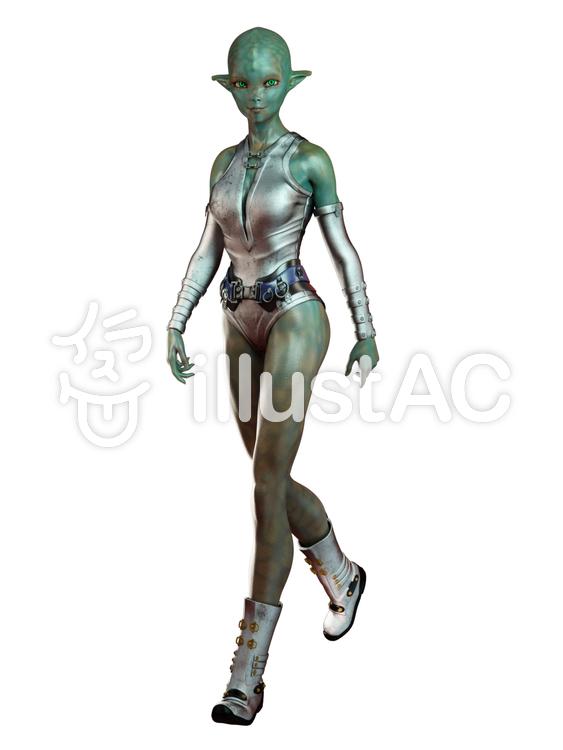 歩くティーン宇宙人女子のイラスト