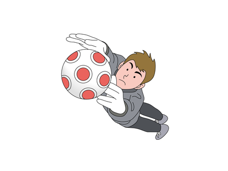 Goal keeper jumping to the ball