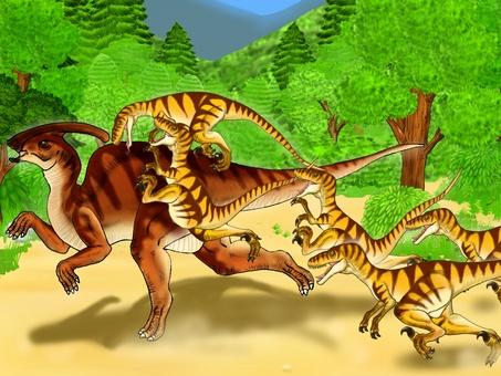 Herbivorous dinosaur attacked by carnivorous dinosaurs