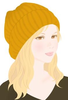 Fall knitted cap mustard