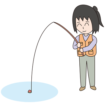 A woman fishing