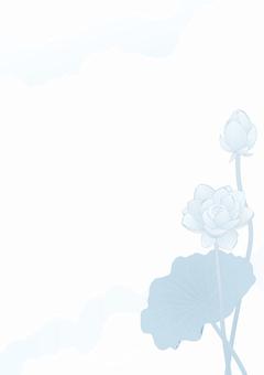 Lotus flower _ Paper vertical plate _ Light light blue