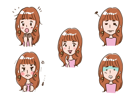 Female A facial expression 5 patterns