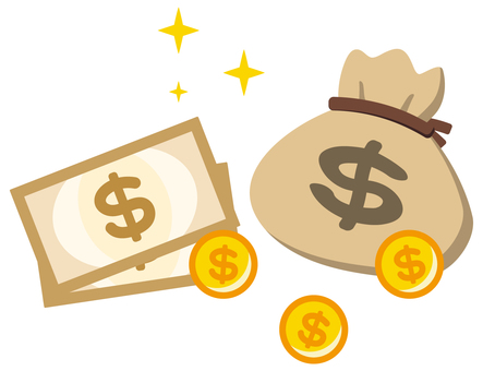 Money and drawstring bag