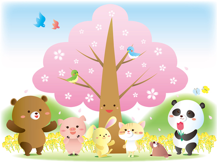 Illustration of spring animals and cherry blossoms