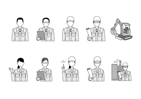 Field Director People Icon Set Black & White