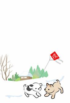 子犬と風景の和風年賀状・文字なし01