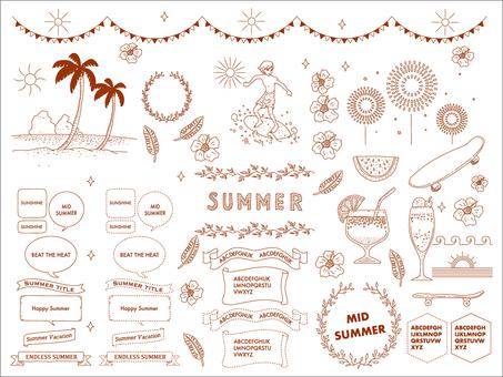 Set of summer images and frames