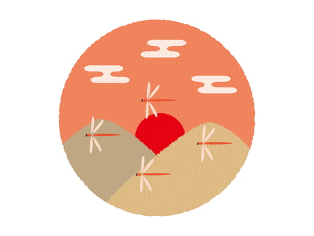 赤とんぼが飛ぶ夕焼け風景_秋イラスト