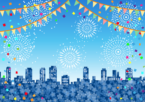Sakura building city, fireworks, flag and confetti background
