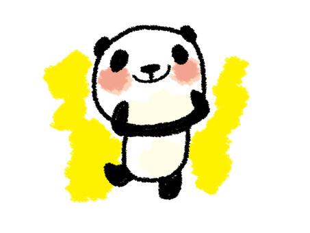 蠟筆樣式熊貓的微笑