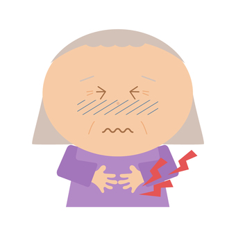 Grandmother with a stomach ache