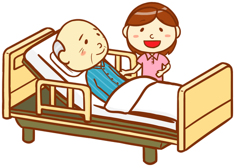 Elderly Male and Caregiver and Nursing Bed