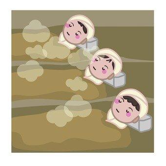 A woman enjoying a sand steam bath