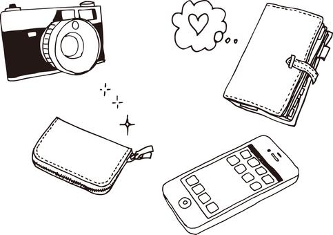 Pocketbook, wallet, camera, smartphone