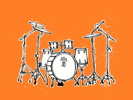 드럼 세트 (배경 오렌지)