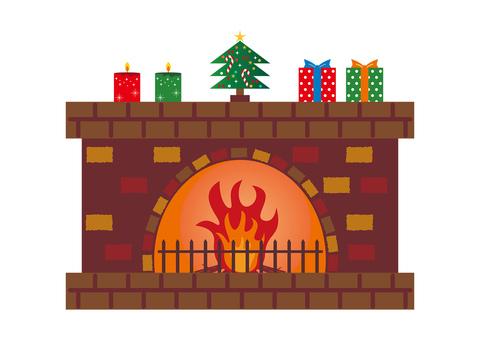 暖炉とクリスマスツリー イラスト