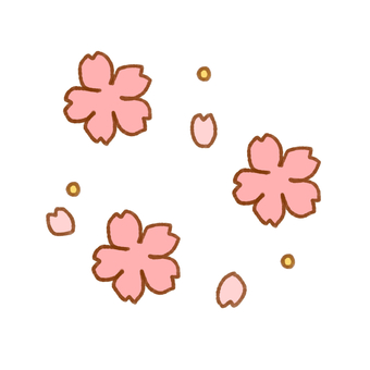 Points of cherry blossoms and petals