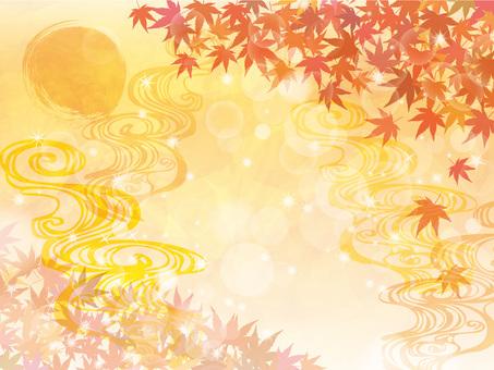 紅葉秋冬フレーム枠背景もみじキラキラ水彩
