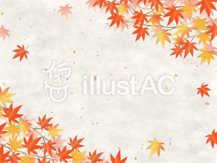 紅葉/水彩風フレーム06/もみじ和風のイラスト