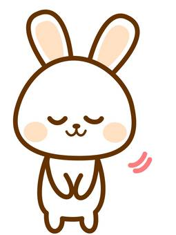A rabbit who bows