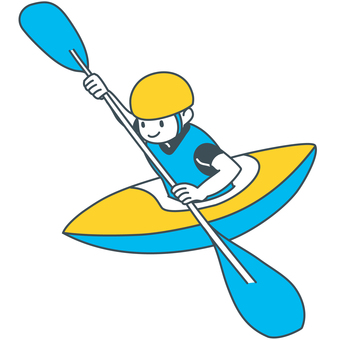 A canoe boy rowing a paddle with full power of blue yellow white