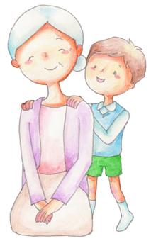 Boy with grandmother's shoulder