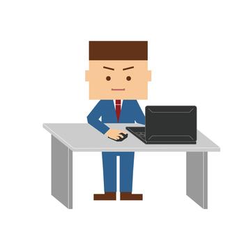 辦公室工作人員操作一台筆記本電腦