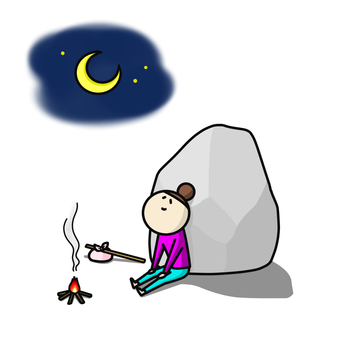 Traveling alone rock night smiling