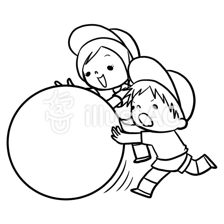 運動会大玉転がし男女線画塗り絵イラスト No 864865無料イラスト